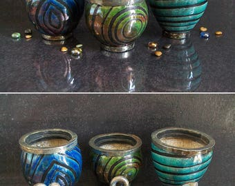 raku pottery jar with lid, ceramic canister set, modern jars, kitchen jars, set of jars, raku lidded jar, striped jar, kitchen canisters
