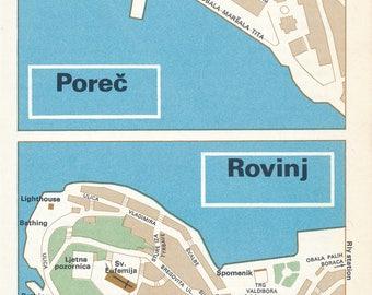 1969 Porec & Rovinj Croatia Vintage Map