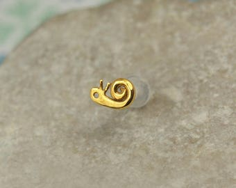 Snail Cartilage Stud - 16g Tragus Piercing - Cartilage Earring - 16g Helix Stud - Helix Earring - Helix 16 Gauge Stud - Gold Helix Piercing