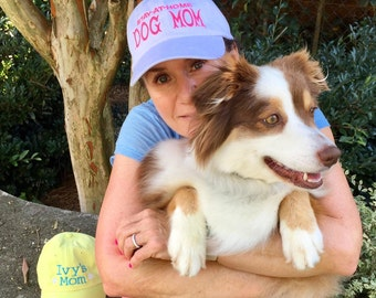 Stay at Home Dog Mom ||  Dog Lover Hat || Monogrammed  Personalized Gift by Three Spoiled Dogs Made in USA