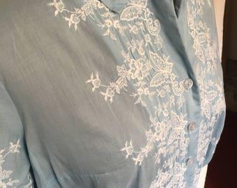 Beautiful Sky Blue Kay Windsor Original Cotton 50's/60's Dress