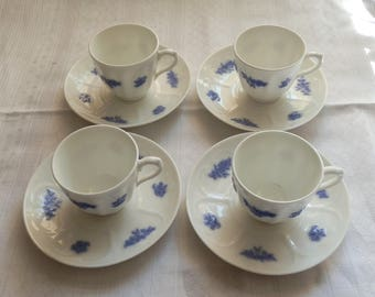 ADDERLEYS Blue and White Chelsea Set of Four Espresso Coffee Cups and Saucers / Demitasse, Made in England c1920