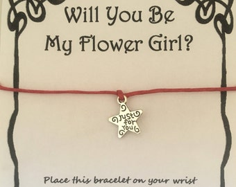 Will you be my flowergirl, card, wish, bracelet, charm, flowergirl, gift, flower girl, card, wedding, various charms colours