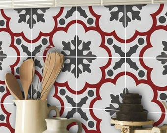 Tile Decals - Tiles for Kitchen/Bathroom Back splash - Floor decals - Genova Tile Sticker Pack in Rouge.