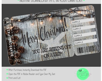 Printable Christmas Vacation Surprise Trip Boarding Pass Ticket Template, Digital PDF File - You Fill and Print