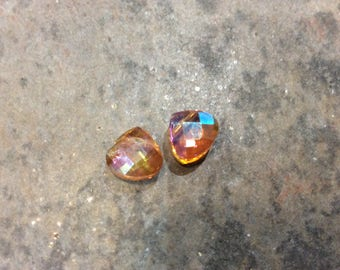 DOLLAR DAYS Faceted Crystal Briolettes in Fall Orange with Aurora Borealis Finish 10mm briolettes Package of 2