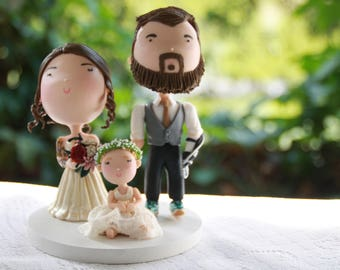 Custom cake topper family - Groom with hook, Tattooed bride, blonde toddler. Handmade. Fully customizable. Unique keepsake