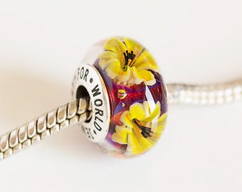 Artisan Lampwork flower bead. Silver core beads. Large hole beads, Fits Pandora. European bracelet beads. Murano glass. European charm