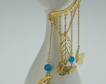 Butterfly Earrings Blue Gold color-handmade