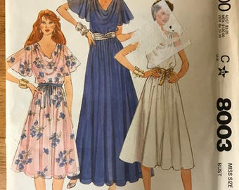 McCalls 8003 - 1980s Dress with Bias Bodice and Cowl with Flared Skirt in Knee or Maxi Length and Slip - Size 10 Bust 32.5