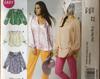 McCalls M6509 - Easy to Sew Loose Fitting Blouse or Tunic with Scoop or Slash Neck and Ruffle Option - Size L XL XXL