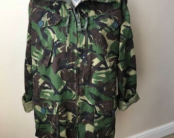 vintage 90s British army military heavy duty camouflage combat jacket