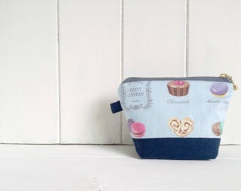Small Zipper Pouch, Vintage Purse, Blue Makeup Bag, Mini Cosmetic Bag, Lipstick Pouch, Small Toiletry Bag, Macaroon Purse - Macaroon blue