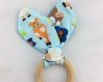 Natural Wooden Teething Ring, Bunny Ear Teether, Waldorf Baby Toy, Maple Ring Teether, baby shower gift, wood teether, organic teething ring