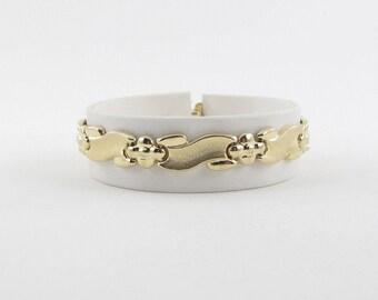 14k Yellow Gold X O Bracelet, 14k Gold Women Bracelet, Flower Design Bracelet