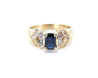 14k Yellow Gold Diamond And Sapphire Ring, 14k Yellow Gold Gemstones Ring