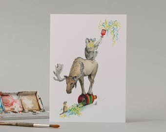 A Meerkat, a Moose and a Mandrill: Hand Drawn Birthday Card // watercolour illustration //party animals