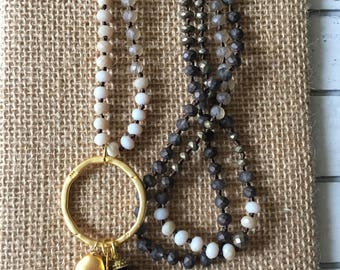 Grey beaded knotted necklace