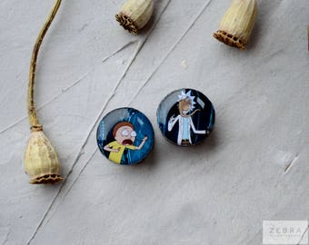 Pair plugs Rick Morty image wood ear Gauges,4,5,8,10,12,14,16,18,20,22,25-60mm;6g,4g,2g,0g,00g;1/4,5/16,3/8,1/2,9/16,5/8,3/4,7/8,1 1/4""