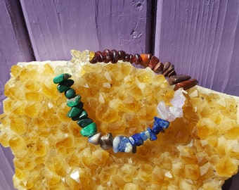 Chakra Gemstones, Crystal Bracelet, Malachite, Spiritual Jewellery, Sodalite, Lapis Lazuli, Amethyst, Citrine, Tiger's Eye, Garnet chips