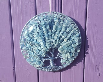 Aquamarine Gem Tree, Suncatcher Decor, Crystal Decoration, Gemstone Mobile, Semi-precious Stones, Home Wall Hanging, Spiritual Gift