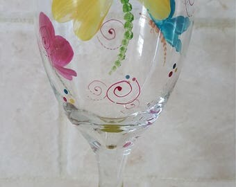 Dragonflies and Butterflies - Wine Glasses