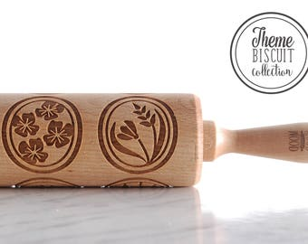 POLISH FLOWERS THEME - embossed, engraved rolling pin for biscuits, springerle - perfect gift idea