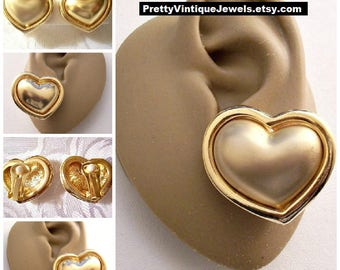 Heart Puffed Satin Polished Button Clip On Earrings Vintage Two Different Finish Rolled Rimmed Edges White Pads