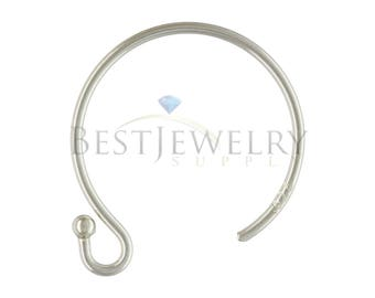 1 Pair 2 Pcs. Sterling Silver .925 Circle Ball End Ear Wire Earring Findings