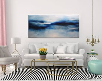 Extra Large Wall Art Canvas, Large Art Blue Abstract Painting, Abstract  Original Art,