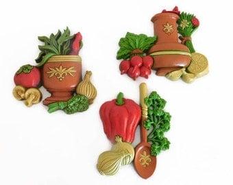 Three (3) Vintage Dart Ind. Vegetable Wall/Decor Plaques - Vintage Kitchen Decor, Vintage Dart Ind., Vegetable Decor, Vegetable Garden