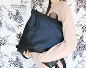 "15"" laptop backpack, Black leather backpack, backpack for women, leather school bag, womens backpack, black leather bag, student backpack"