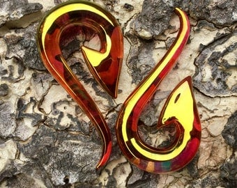 """24 K Ruby Gold South Pacific Islands Tribal Fish Hooks 10g 8g 6g 4g 2g 0g 00g 7/16"""" 1/2"""" 9/16"""" 5/8""""  2.5 mm 3 mm 4 mm 5 mm 6 mm 8 mm - 16 mm"""
