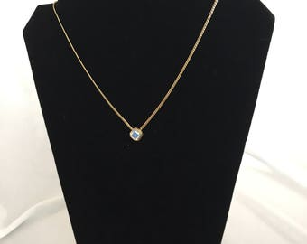 Vintage, Avon Signed, Aurora Borealis, Princess Cut Stone Necklace /Gold Tone