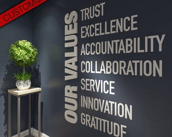Our Values, Office, Wall, Art, Decor, 3D, PVC, Typography, Inspirational, Motivational, Work, Sucess, Decals, Stickers - SKU:VALUES