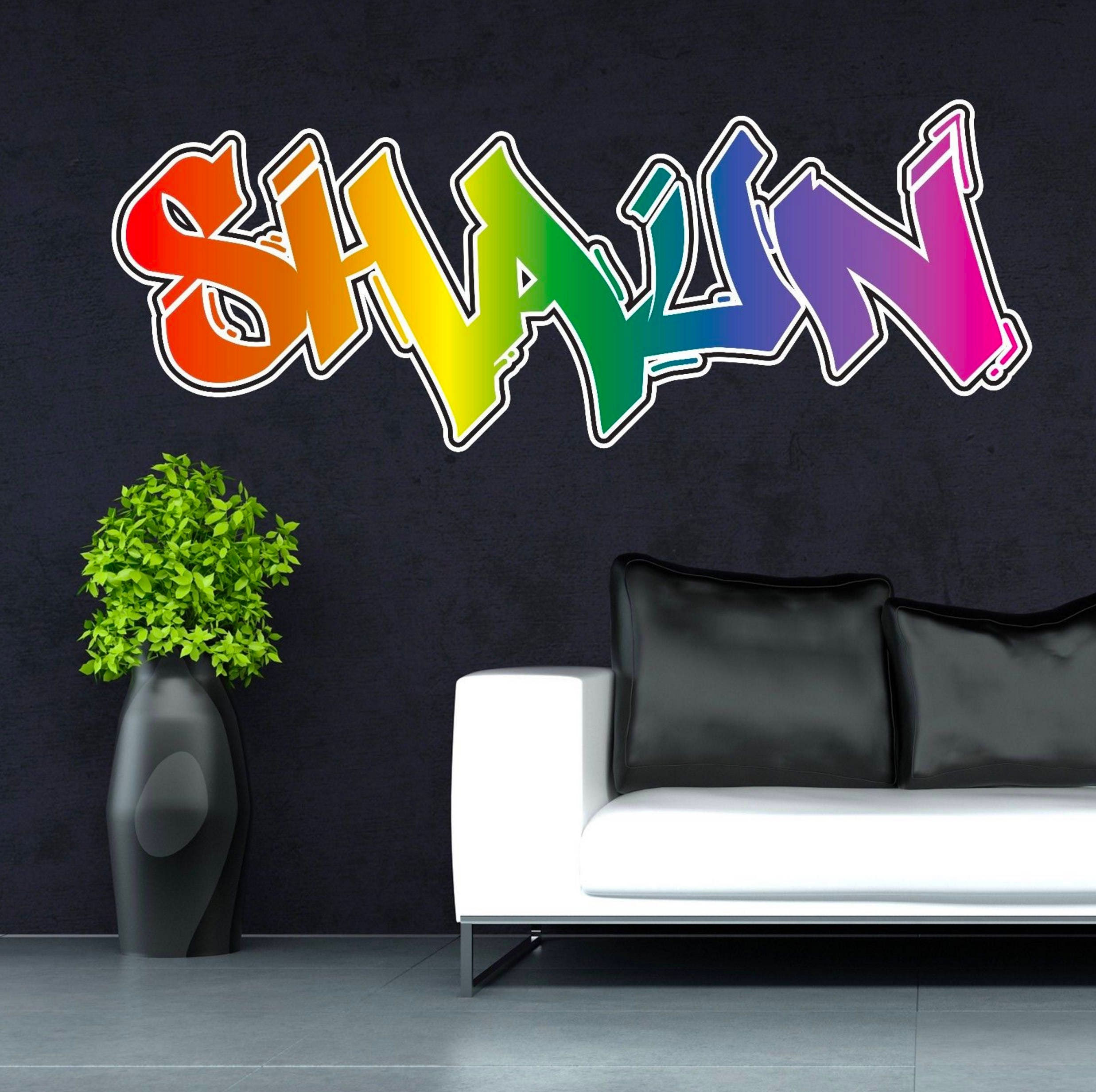 Personalised custom graffiti name wall art stickers decor for zoom amipublicfo Gallery