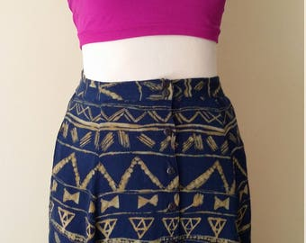 Tribal skirt, S, M, gauze skirt, button front skirt, blue skirt, summer skirt, ethnic skirt, batik skirt