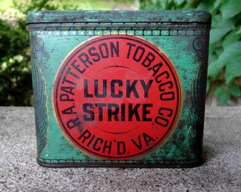 LUCKY STRIKE Tobacco Tin // One Pound // Unusual Size Sliced Plug Rich'd VA // Antique Lucky Strike Cigarette Tobacco Tin
