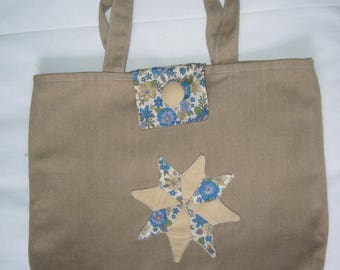 Small tote bag / library / waterproofed canvas dark taupe / liberty sewn patchwork applique / tab and snap closure