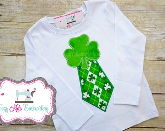 St. Patrick's Day Shirt, Saint Patrick's Day Shirt, St. Patty shirt, Saint Patty shirt, Shamrock Tie Shirt, boy, baby, applique, embroidery
