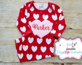 Valentine's Day Gown, Valentine's Day pajamas, First Valentine's Day Gown, Girl's Valentine's Pajamas, Embroider, Applique