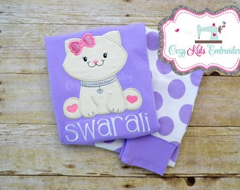 Kitty pajama, Kitty Pj, Cat Pajama, Cat PJ, girl child kid baby toddler infant applique embroidery monogram name