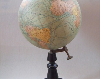 Rare Antique 9 Inch Novelty Terrestrial Globe By J.Forest Paris Circa 1912