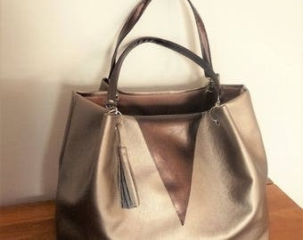 bag with gold matte/nude/bronze and brown leather hand/Tote copper handmade made in france chic