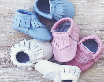 Leather Newborn Moccasins Newborn Baby Moccasins Fringe Leather Baby Moccasins Baby Moccs Baby Shoes Baby Shower