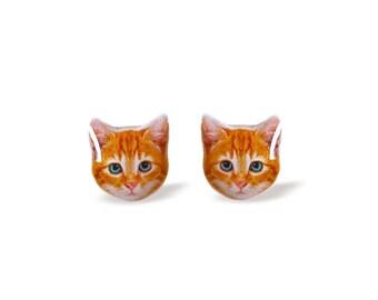 Cat Earrings Kitty Earrings Orange Cat Earrings Kitten Stud Earrings Tabby Cat Earrings Blue Eyes Cat Studs Cat Jewelry