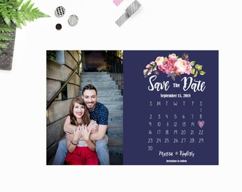 Floral Save The Date. Printable. Digital Download.