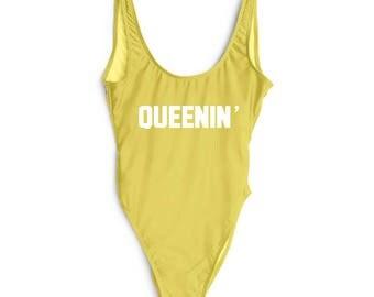 Queenin' Swim. Fun Bathing Suit. Beach Bathing Suit.  Bathing Suit. Queenin' Bathing Suit. Queenin' Swimsuit. One Piece.