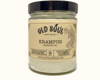 Krampus Soy Candle, Holiday Candle, Vegan Candle, Christmas Candle, Scented Candle, Winter Scent, Jar Candle, The perfect gothic gift!