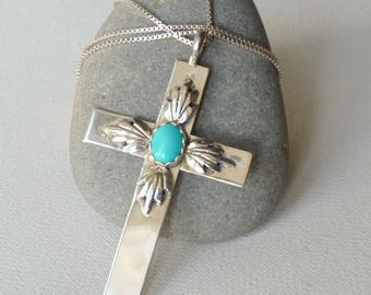 Sterling Silver Turquoise Cross Pendant Chain Necklace, Native  Southwestern Crucifix, Silver Cross, Vintage Religious Turquoise Jewelry 925